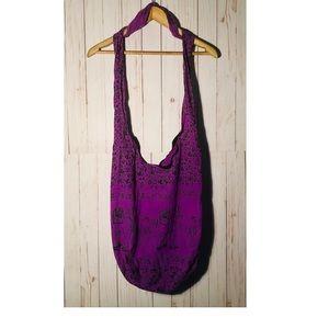 Indian shoulder bag elephants purple